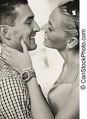 black-white, foto, de, un, pareja