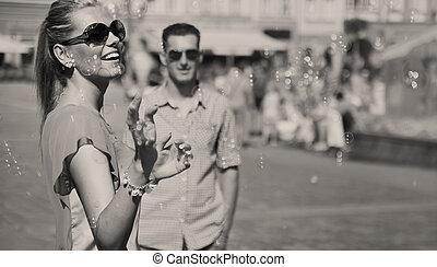 black-white, foto, van, paar