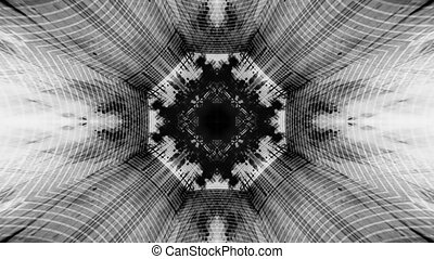 Black white geometric animated abstract loop
