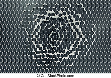 Black-white geometric hexagonal abstract background. 3d rendering