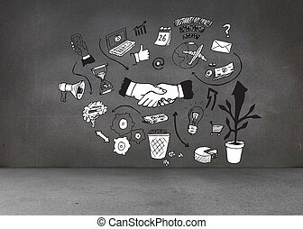 Black white graphic on dark wall
