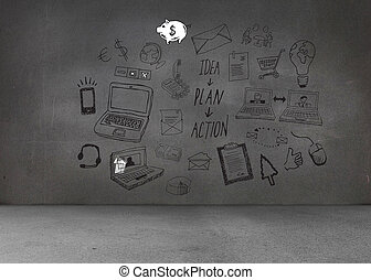 Black white graphics on dark wall