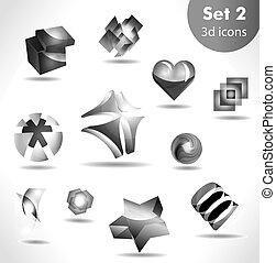 black white icon set