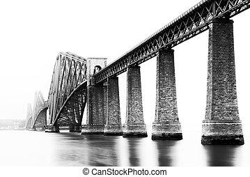 black white, kép, közül, firth of előre, bridzs, alatt, déli, queensferry, edinburgh, skócia