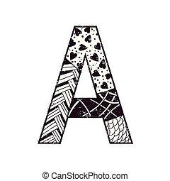 black white letter A in zen art style