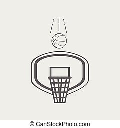 Black white line basketball hoop and ball icon