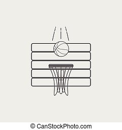 Black white line basketball hoop and ball icon.