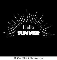Black white lineart logo of the summer sun