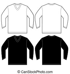 Vector illustration of black and white long sleeved v-neck shirt, isolated front and back design template for men