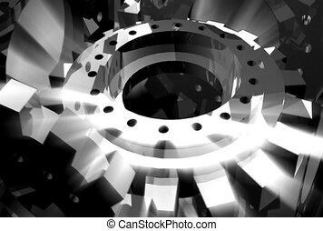 black, white, machinery