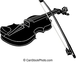 Black - White Musical instrument violin with fiddlestick on a  background.