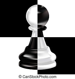 black white pawn on four squares of a chessboard