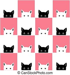 Black White Pink Cat Chess board Background