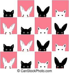 Black White Pink Cat Rabbit Chess board Background