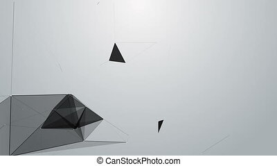 Black white plexus with dots, lines, triangles. Background