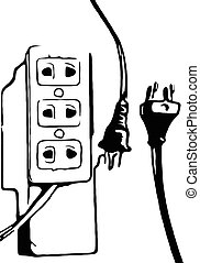 black white plug and outlet vector