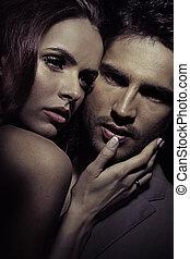 Black-white portrait of loving couple - Black-white portrait...
