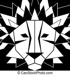 Black white print head of lion