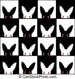 Black White Rabbit Chess board Background