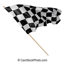 Black white race chequered or checkered flag with wooden stick isolated background. motorsport racing symbol concept