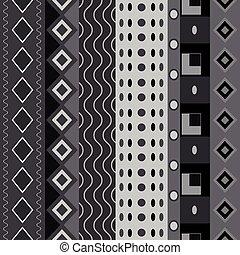 Black white seamless shapes pattern