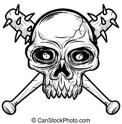 black white Skull head