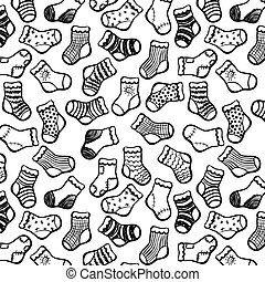 Vector hand drawn socks seamless pattern. Black on white color.