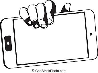 black-white, tavoletta, aggeggio, -, computer, tenere mani,...