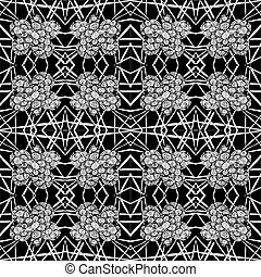 Black-white tiles seamless pattern. Vector illustration. Drawing by hand.