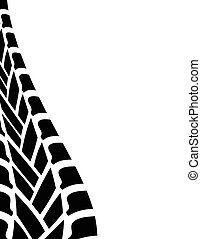 black white tire track background