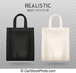 Black White Tote Bags Transparent Background - Black and...