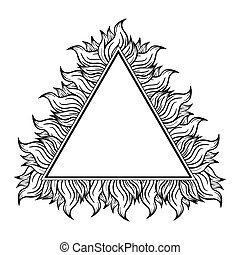 Black white triangle frame with spurts of flame. Vector illustration. Rock n roll style.