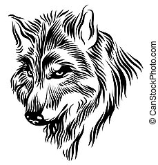 Black white wolf head