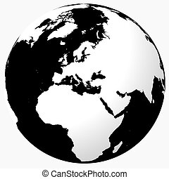 Black & white world - White on black globe