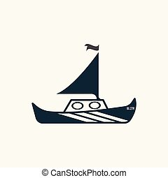 Black white yacht, sailboat icon with one sail.
