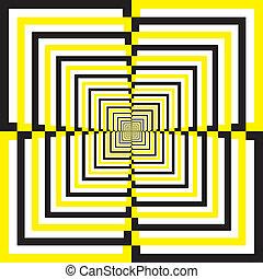 Black White Yellow alternating quartersquares perspective background