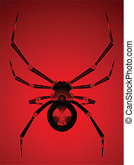 Nuclear powered black widow spider robot with blade legs
