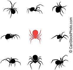 Black widow spider in silhouette style