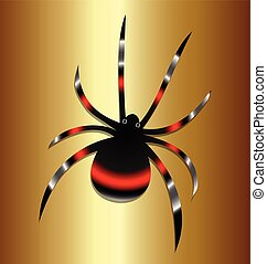 Black Widow spider vintage background vector