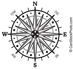 Black wind rose compass isolated on