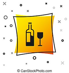 Black Wine bottle with glass icon isolated on white background. Yellow square button. Vector