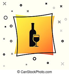 Black Wine bottle with wine glass icon isolated on white background. Yellow square button. Vector Illustration