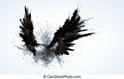 Black wings - Abstract image of black wings against light ...