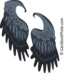 Black wings icon, isometric style