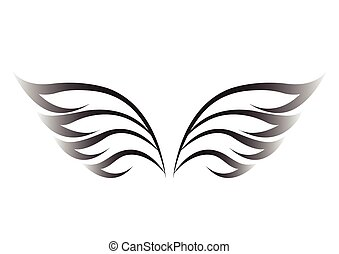 black wings on a white background