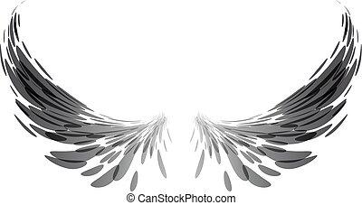 Black wings on white