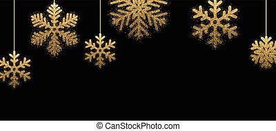 Black winter banner with golden snowflakes.