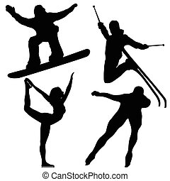 Black Winter Games Silhouettes. Editable Vector Image