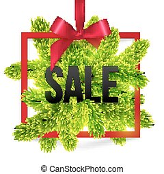 Black winter sale sign label with red ribbon and green fir tree branches
