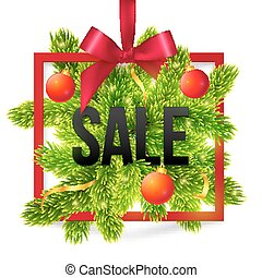 Black winter sale sign with red ribbon, green fir tree branches and balls